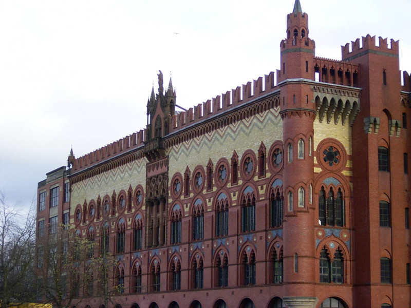 """The former Templeton Carpet Factory – allegedly the oldest building in Glasgow – I was, admittedly, disappointed. It's just a big business centre now. This photo is actually just the back of it. I couldn't find a """"front""""."""