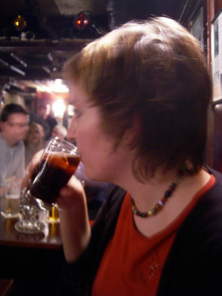 Barbara, doing what the Irish do best.