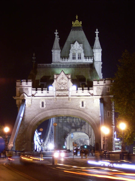 The north side of Tower Bridge. I figured out how to set the shutter speed of my camera (sort of), so I was able to get the neat light smearing effect. Though I didn't have my tripod, so some of the photos got a slight blur to them.