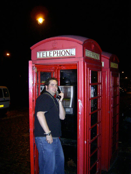 """""""Oh! I NEED a photo of me in one of those…"""" he slurred while stuffing the digital camera in the hands of Justin and stumbling towards the phone booth."""